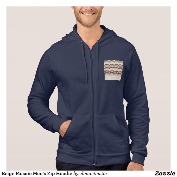 Beige Mosaic Men's Zip Hoodie