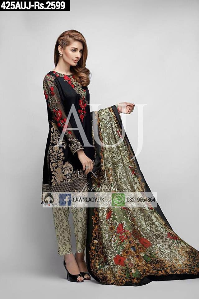 BUY Auj Replica Linen 2016 3Pcs Embroidered Suit Design#425AUJ. **FREE Delivery COD**LIMITED STOCK**VISIT TODAY**