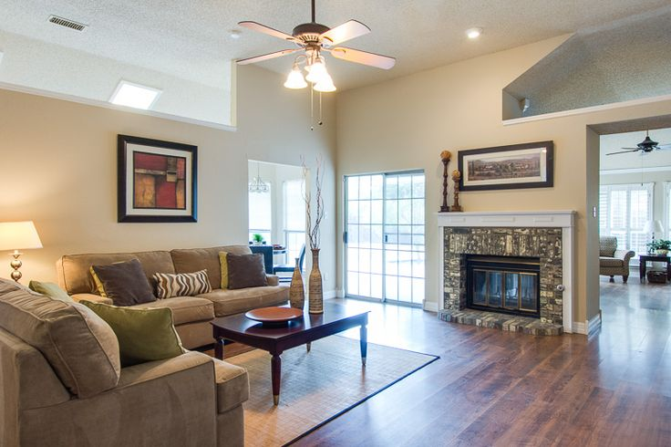 Furniture layout for off center fireplace family room staging open concept furniture - Furniture staging ideas ...