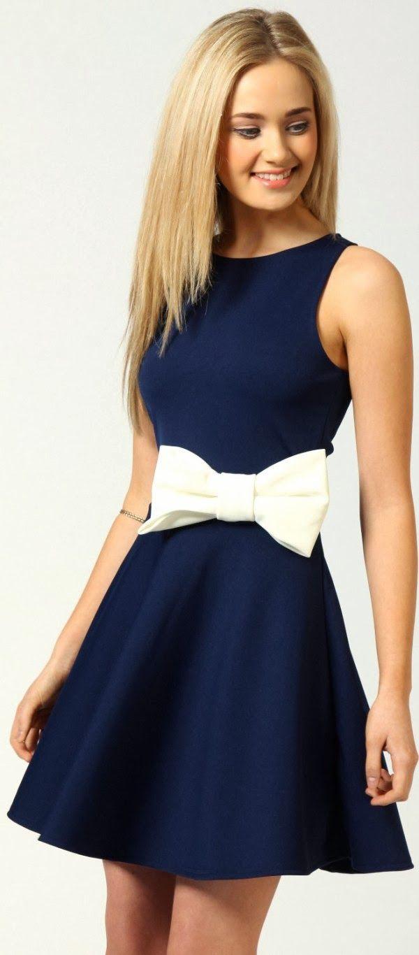 Royal navy skater mini dress with bow detail | Her High Fashion