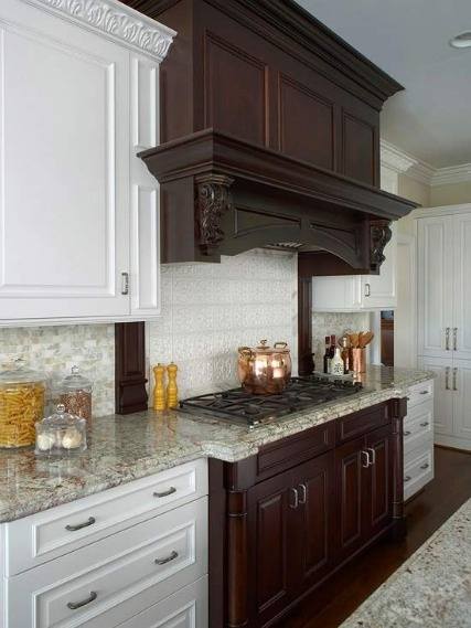 Dark wood cupboards with near-white countertops is what I am looking for.  This is a good colour.