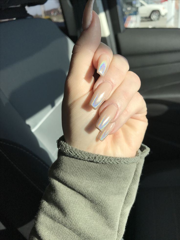 hologram ombr nude coffin nails nude nails