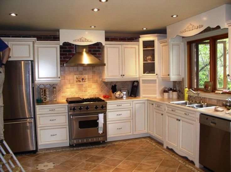 Kitchen:Adorable Kitchen Remodeling Ideas Picture With White Kitchen Cabinets Plus Shelves Ideas Feat Tiles Backsplash And With Gold Stove Furniture Plus Exhaust And Ceramic Kitchen Floor Design Ideas Minimalist Kitchen Remodeling Ideas with Big Brown Wooden Cabinets and Shelves