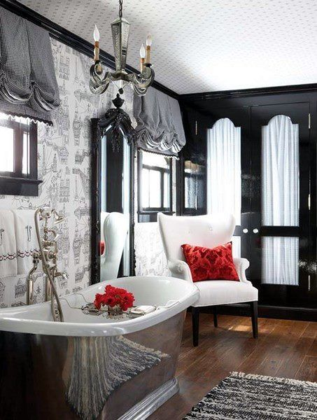 balloon shades, red accents, cabinet doors