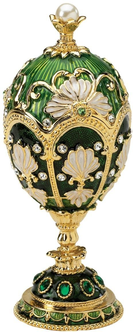 The Petroika Larissa Faberge-Style Enameled Egg in Green