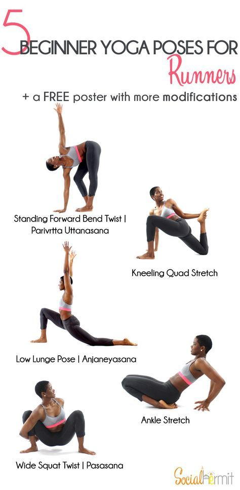 Beginner Yoga Poses for Runners: Click through for a FREE modifications poster/printable. Running puts so much strain on the muscles in your legs, that without properly warming up, and cooling down the muscles in your lower body, it can lead to serious injury. n order to keep those muscles strong and supple, they need to be stretched and strengthened regularly.