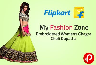 Flipkart is offering My Fashion Zone Embroidered Womens Ghagra Choli Dupatta Set at Rs.599. Ethnic Indian Women's Attires, The Most Eye-Catching One, Perhaps, Is The Lehenga Choli. Though Traditionally Worn By The Women Folk In The Rural Belts Of Indian States Like Gujarat and Rajasthan, The Lehenga Choli Is Also Popular As Bridal Attire In The Urban Parts Of India.  http://www.paisebachaoindia.com/my-fashion-zone-embroidered-womens-ghagra-choli-dupatta-set-at-rs-599-flipkart/