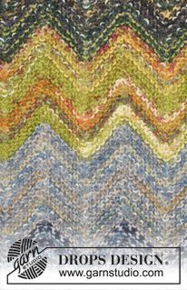 "Knitted DROPS blanket with stripes and zig-zag in ""Fabel"". ~ DROPS Design"