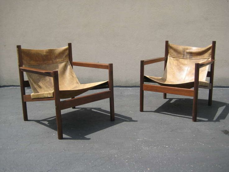 1960s Michel Arnoult Pair of Brown Leather Chairs