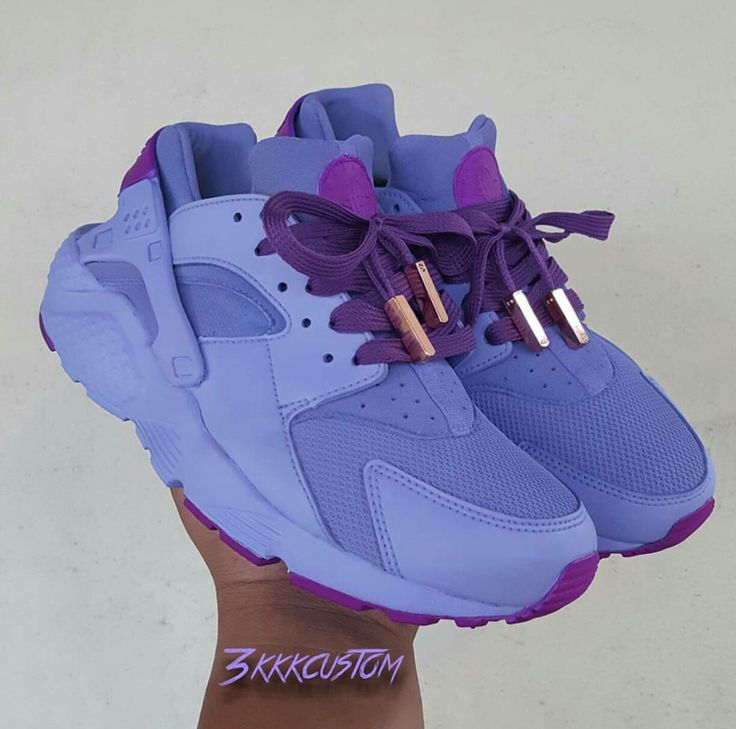 custom lilac and neon purple nike huaraches