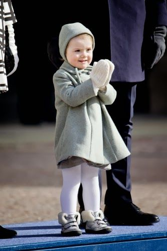 MYROYALS & HOLLYWOOD:  Princess Estelle claps during the celebration of her mother's name day, March 12, 2014