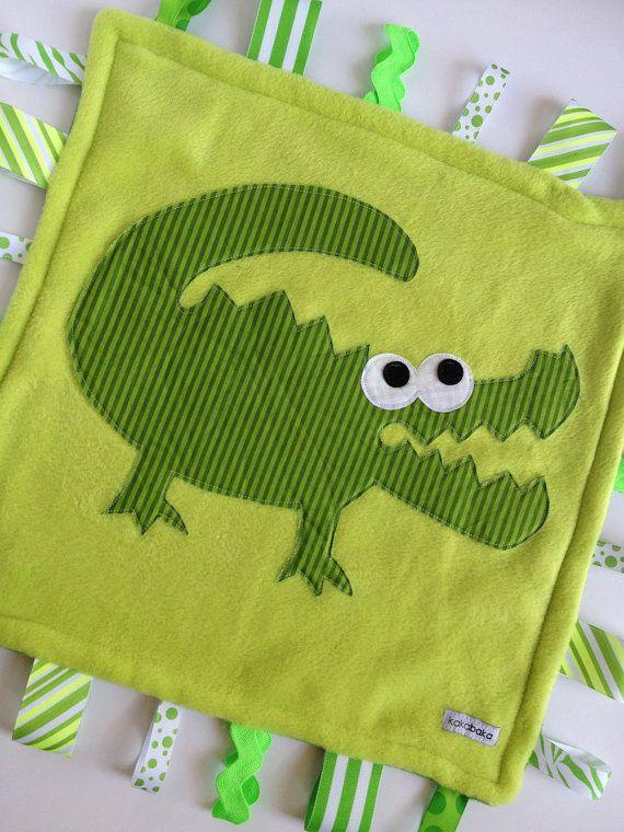 Minky Fleece Tag Blanket Alligator Crocodile in Green by kakabaka, $30.00