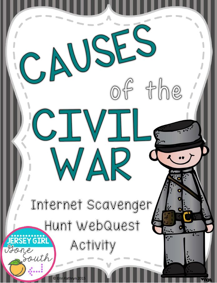 This internet scavenger hunt webquest is a great way to include technology in your student's research! The webquest guides the students to a website to find out all they need to know about the causes of the Civil War!