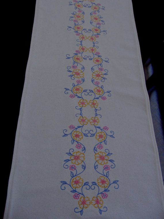 Embroidered Table Runner, Table Runner, Table Runner Embroidery