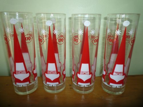 4 Mint Vintage Holt Howard Libbey Dairy Queen Santa Christmas Glasses RARE Color | eBay