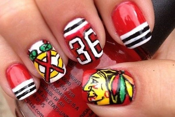 10 Jersey Nail Art Ideas for Sports Fans - http://slodive.com/nails-2/10-jersey-nail-art-ideas-sports-fans/
