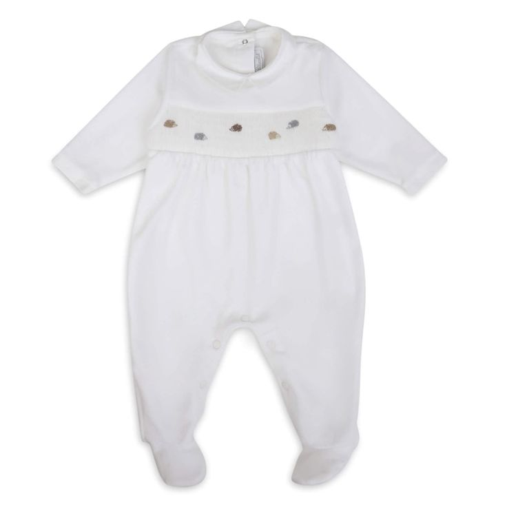 Tartine Et Chocolat Babys Unisex White Baby Grow with Embroidered Hedgehog Design and Elasticated Waist