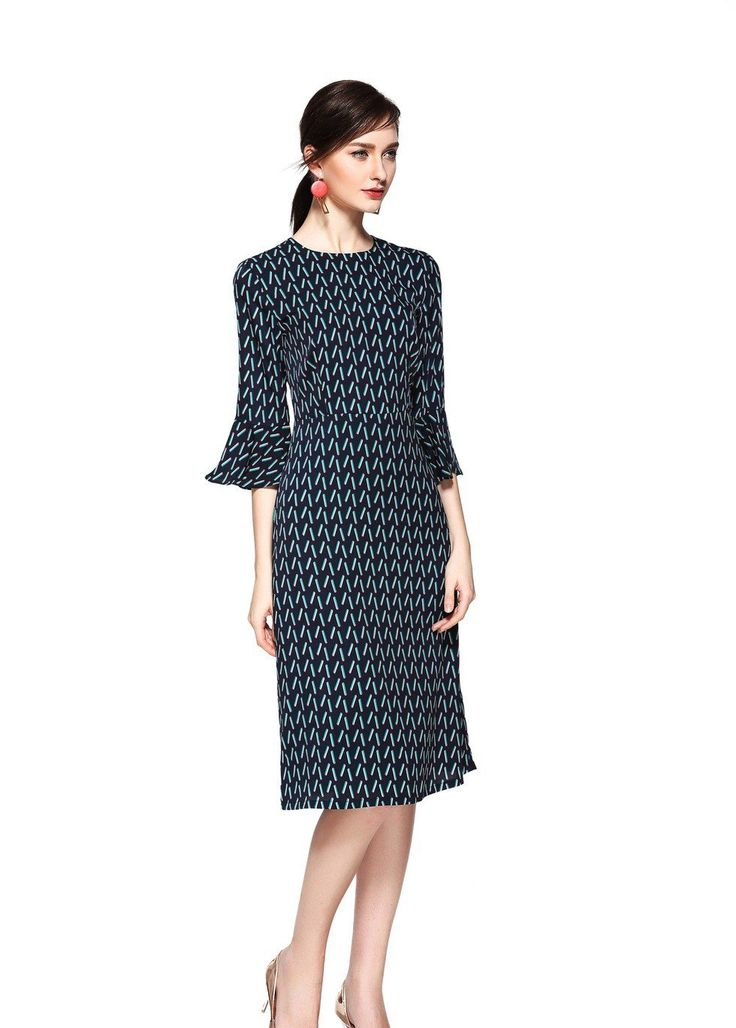 Modest print dress with a multicolored geometric print and flounce sleeves. Fully lined except the sleeves for a comfort fit. Great for many occasions.