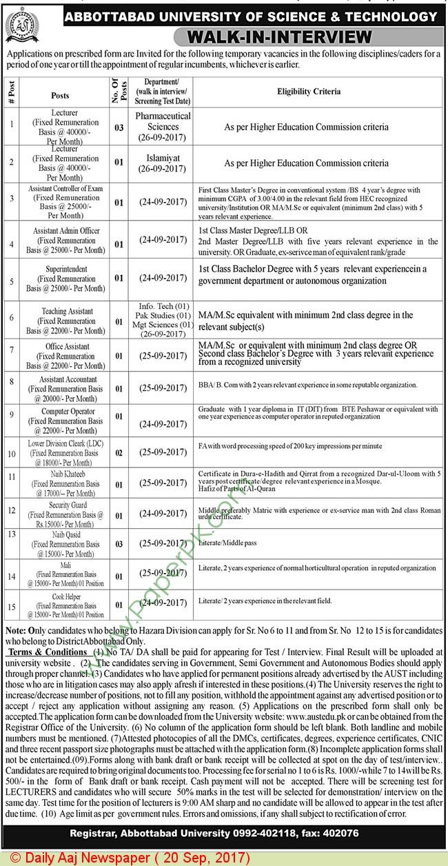 Abbottabad university of science technology abbottabad jobs