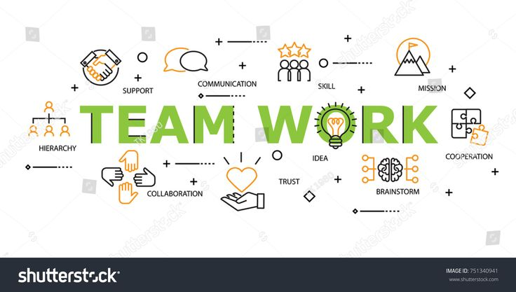 Teamwork Word with Icon Set in Concept of Team and Resource Management. Flat Thin line designed vector illustration on white Background. Editable Stroke.
