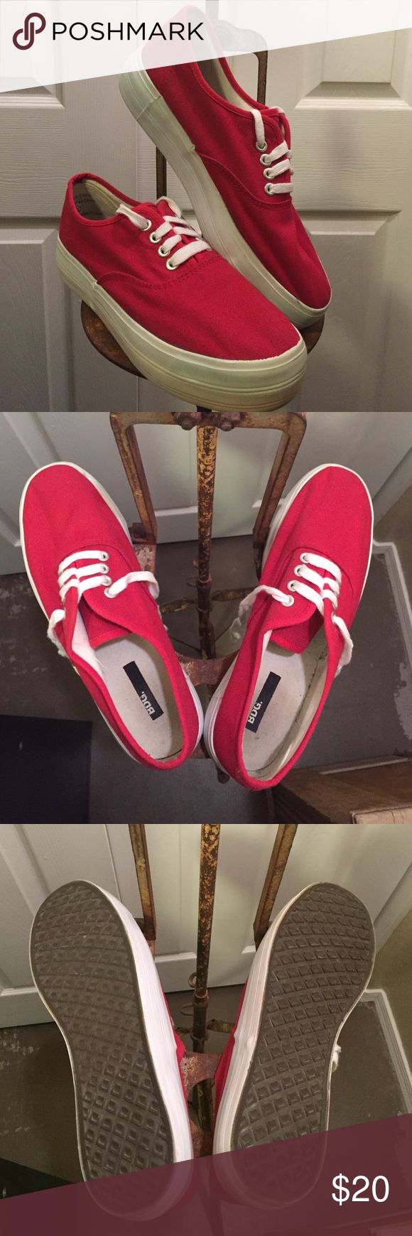 BDG Women's Red Platform Sneakers Size 10 only worn a handful of times still plenty of use in these BDG Shoes Sneakers