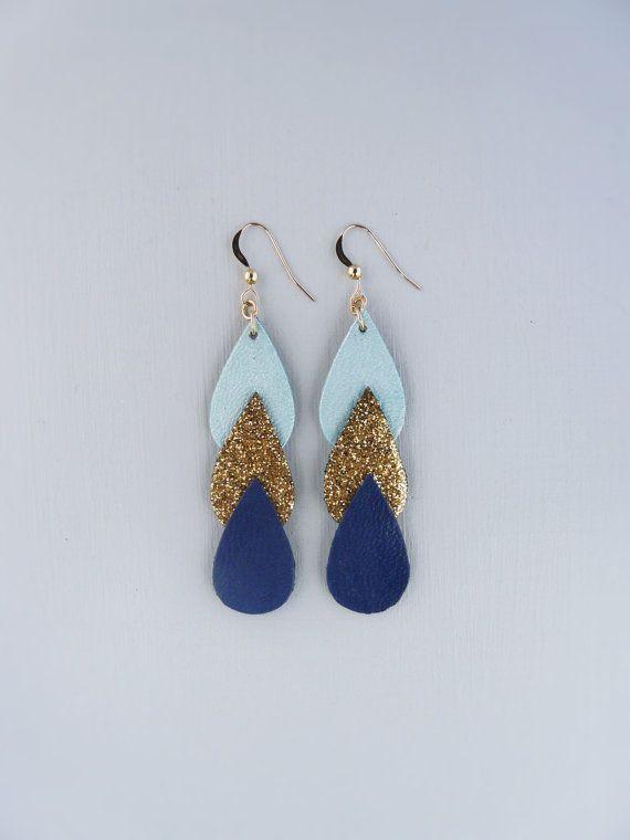 Boucles d'oreilles Ananta cuir et tissu pailleté par Sagarahbijoux