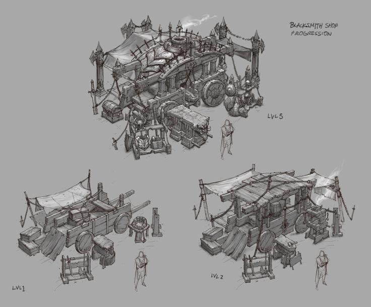 D3 Blacksmith shop sketches, Peet Cooper on ArtStation at https://www.artstation.com/artwork/d3-blacksmith-shop-sketches