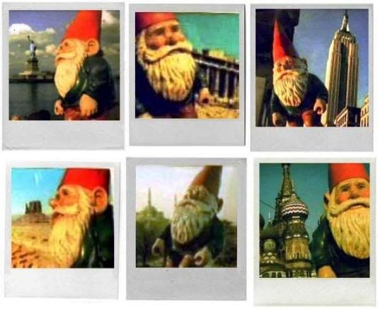"""Polaroids of the 'kidnapped' garden gnome from the movie """"Amélie"""" (dir. Jean-Pierre Jeunet, 2001) --- SUMMARY: She stole her father's beloved gnome and sent it with her flight attendant friend all around the world, to try to inspire her father to live again after mourning her mother's death for so many years. The Polaroid photos were mailed back to her father in true 'Wish You Were Here' postcard style. Love it!!"""