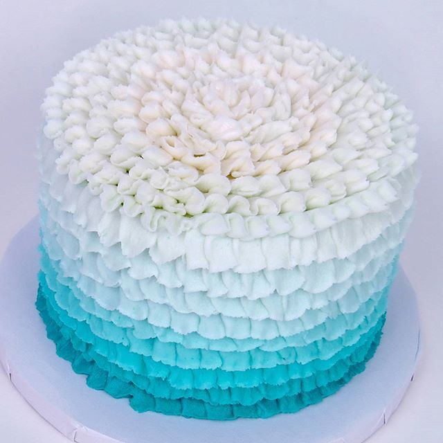 This weeks video is officially live on my YouTube channel!   Link in bio to full How-To vid!   P.s. sorry for the late uplaod!   #cake #cakelove #ruffle #ombre #tiffanyblue #tiffanyco #tiffany #buttercream #icing #howto #cakestagram #lateupload #sorry #
