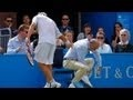 David Nalbandian angrily kicks Linesman and gets disqualified  Queens 2012 Final david nalbandian kicks linesman violence i