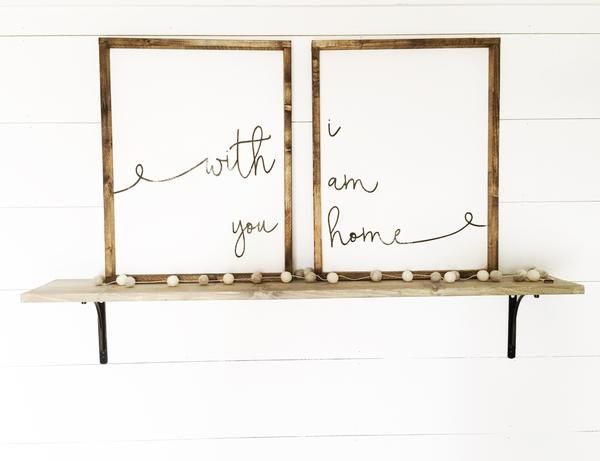 With You I Am Home | Beautiful Rustic Bedroom Decor | Farmhouse Bedroom | Farmhouse Decor | Bedroom Design Ideas | Bedroom Decor | Fixer Upper Style | Joanna Gaines | Farmhouse Style | Farmhouse Sign | Wood Sign | Rustic Sign | Shiplap | Rustic Home Decor