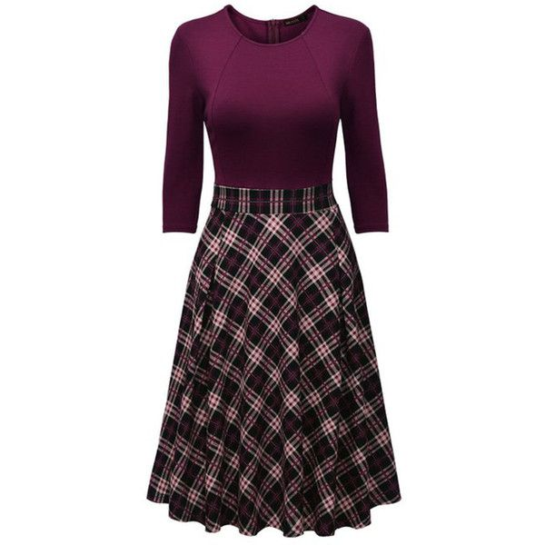 Round Neck  Plaid Midi Skater Dress ($32) ❤ liked on Polyvore featuring dresses, calf length dresses, cotton dress, purple midi dress, tartan dress and midi dress
