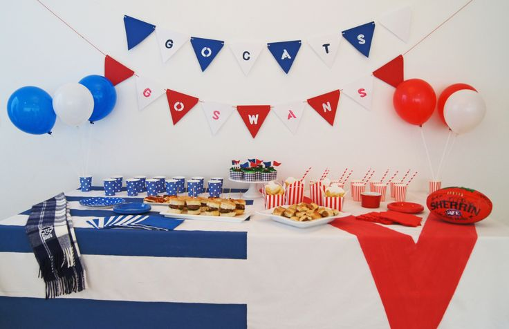 FINALS FEVER: HOST YOUR OWN FOOTBALL FINALS PARTY. recipe ideas, hamburger recipes, suasage roll recipes, cupcake recipes, diy party, diy bunting flags, diy tablecloth, geelong cats, sydney swans, party decorations, party ideas.