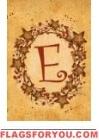 E - Vine / Berries Monogram Garden Flag