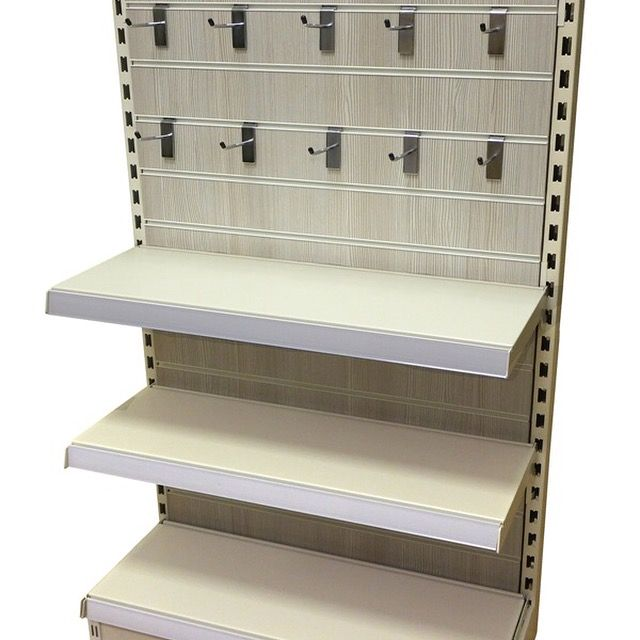136238c5014 Metal wall shelving with Pino Grey Slatwall Panel fitted complete with  Slatwall hooks. Wall and gondola shelving availa…
