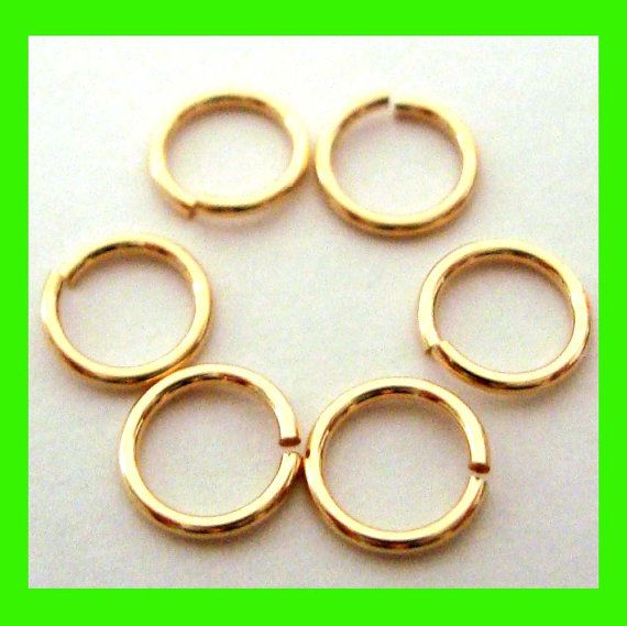 40x 6mm 20.5 gauge 14k yellow gold filled jump rings charm connector Gr04