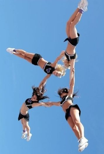 HELICOPTER: A flyer in an horizontal position is tossed by the bases then rotates around the vertical axis (like helicopter blades) before being caught by the original bases. WARNING: This stunt is now illegal!  #Cheerleading #Cheer #Stunt #CheerWordOfTheWeek