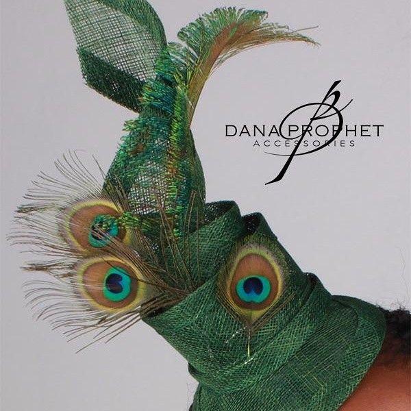 Green Peacock Feather Twist Fascinator. http://www.danaprophetaccessories.com/fascinators/peacock-twist-sinamay-fascinator/ #hat #fascinator #races #durbanjuly #horserace #kentuckyderby #royal #sinamay #celebrations #weddings #wedding #bride #bridal #veil #bridesmaids #peacock #peacockfeather #green