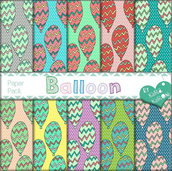 Balloon Multicolored Pattern Digital Papers... scrapbooking paper,Printable,13 jpg files   - INSTANT DOWNLOAD