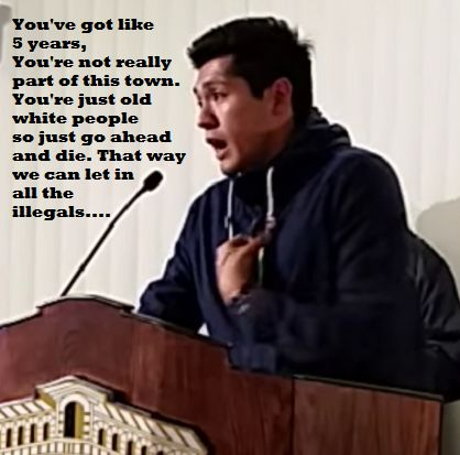 Apparently old white people should just shut up and wait to die; at least that's what ACLU Official, Luis Nolasco said at a council meeting in Rialto, CA.