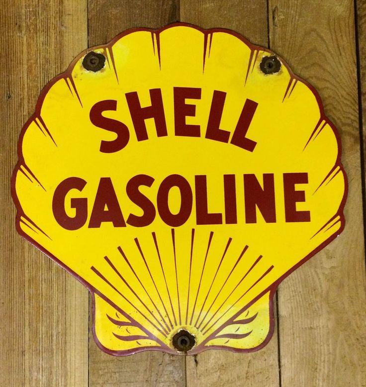SHELL GASOLINE clam porcelain sign gas & oil pump plate vintage service station #shelloilgasolinemobilgulftexaco