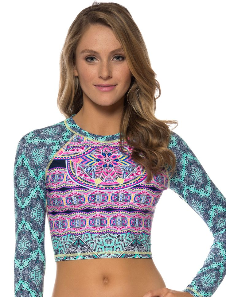 JESSICA SIMPSON SWIMWEAR MOJAVE CROPPED RASH GUARD