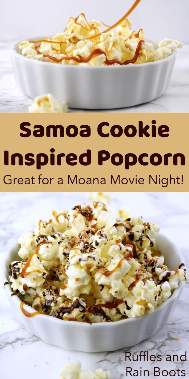 Make this Samoa movie popcorn - yes, like the delectable cookie! - to please any crowd on family movie night. Psst: Girl Scout cookie lovers will LOSE IT over this! #popcorn #Samoacookie via @momtoelise