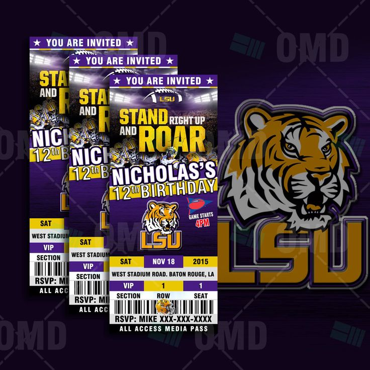 LSU Tigers Sports Party Invitation, Sports Tickets Invites, Louisiana State Football Birthday Theme Party Template by sportsinvites on Etsy https://www.etsy.com/listing/240981980/lsu-tigers-sports-party-invitation