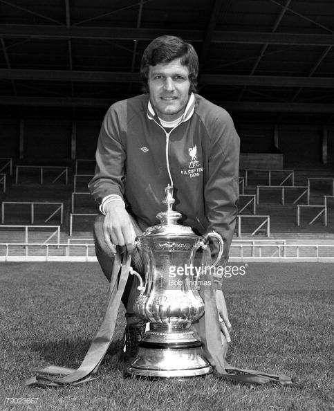 Sport Football England August 1974 Liverpool FC Photocall Liverpool FC's John Toshack is pictured with the FA Cup trophy that his side won against Newcastle United