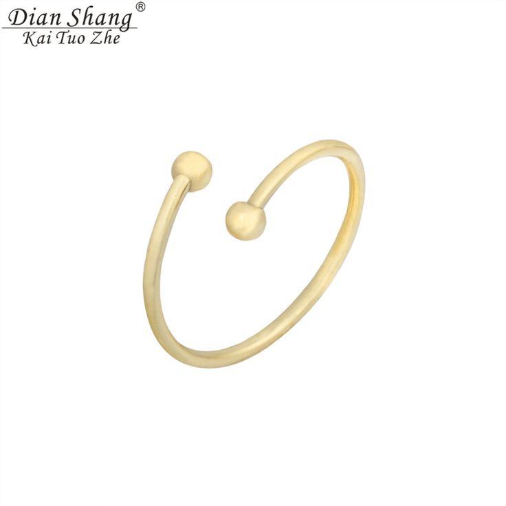 Dianshangkaituozhe anel minimalista oro plata anillos del dedo del pie abierto doble bolas bandas de color para las mujeres de oro rosa de la joyería masónica