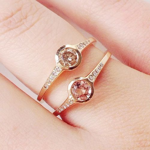 Best champagne and pink tourmaline gold rings