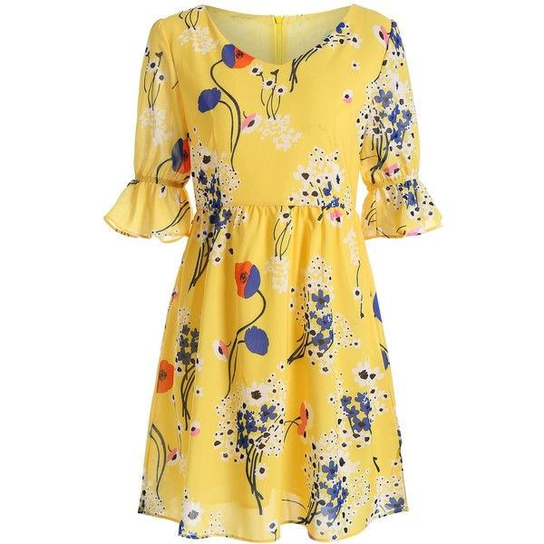 134 best dress up yellow images on pinterest curve dresses v neck high waist floral print dress 19 liked on polyvore featuring dresses mightylinksfo