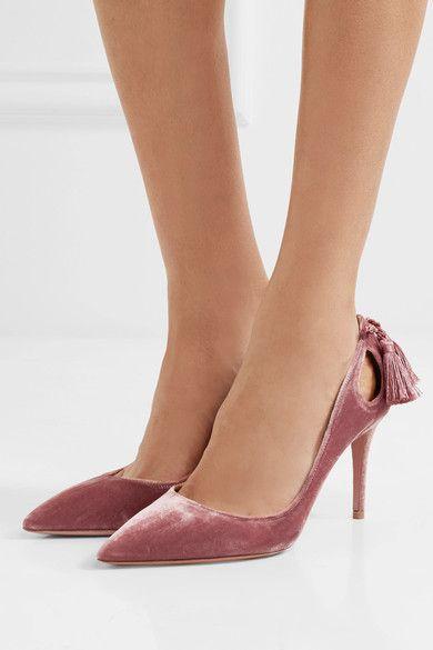 Aquazzura - Forever Marilyn Tasseled Velvet Pumps - Antique rose - IT