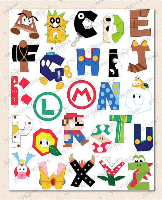 Print-INK Super Mario Bros. Alphabet Poster Wall Art